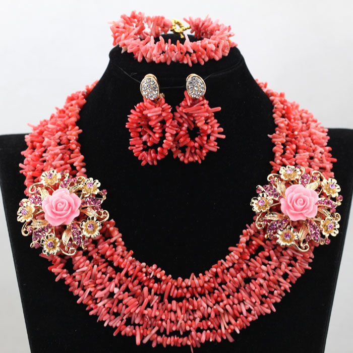 Charms 6 Rows Pink Coral Necklace Jewelry Set Fashion Broken Beads Coral Bride Gift Lady Jewelry Set Free Shipping CNR521
