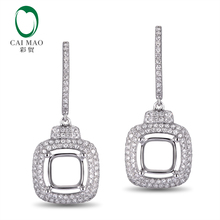 Hot Sale Free shipping Cushion 7.5mm 18k White Gold 1.06ct Natural Diamond Semi Mount  Earring Snow Shape