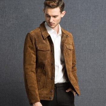 2016 Hommes de veste en cuir véritable peau de porc Véritable veste En Cuir hommes cuir de porc denim veste manteau