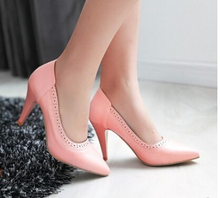 Spring cutout carved sexy thin heels Plus Big Size 40-43 women's single high-heeled shoes fashion Brogue Pink White Beige