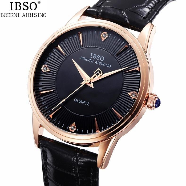 Good Quality IBSO Brand Quartz Watch Lovers Watches Women Men Genuine Leather 3ATM Waterproof Rhinestone Dial Wristwatches 1pc<br><br>Aliexpress