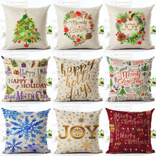 Cushion Cover Merry Christmas Letter Printing Happy Day Joy Holiday Gifts Christmas Tree Throw Pillow Pillowcase Sofa Home Decor(China)