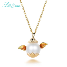 l&zuan 18K-Gold Pearl Woman Pendants Trendy Real Diamond Jewelry Cherub Party charms sweater Necklaces Christmas Gift(China)