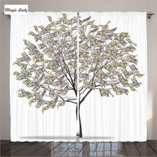 Modern Curtains Designs Living Room Bedroom Tree Money Luxury Leaves Branches Decor Collection White 2 Panels Set 145*265 sm