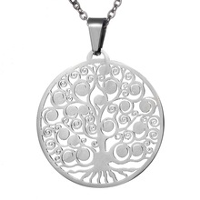 Hot Sales Stainless Steel Hollow Life Tree Pendant Necklace Silver Tone Round Pendant For Women Men With Long Chain 38.5x35.4mm(China)