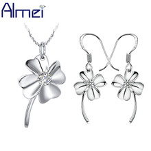 Almei Fashion Flower Necklace And Earrings Set Women Wedding Silver Color Necklaces Sets Purple Clover Cheap Jewelry Sale T015