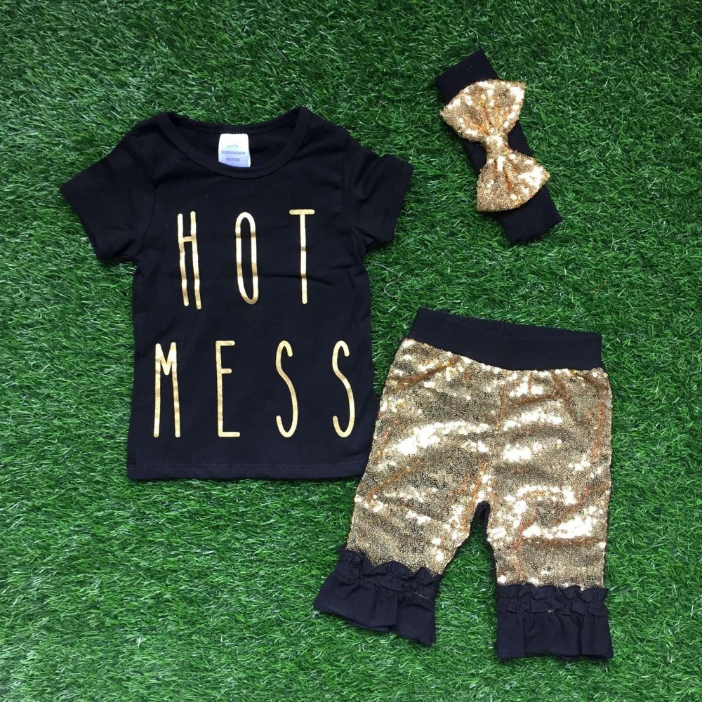 new Girls summer design short sleeves outfits girls boutique clothing hot mess with shorts pants summer sets with  headband<br><br>Aliexpress
