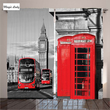 Blackout Curtains UK London Telephone Booth Street Cultural Icon England Red Grey Living Room Bedroo Blackout Curtains UK Londo