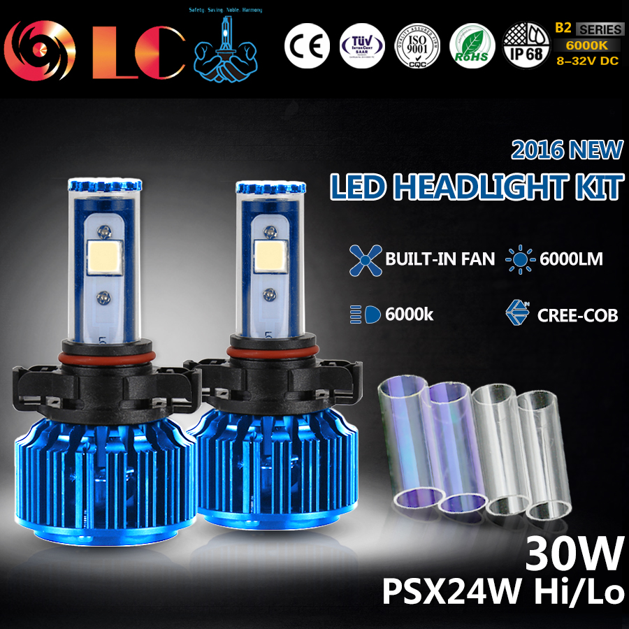 2016 NEW H16 PSX24W 60W 3000LM COB Chip LED Headlight Fog Light Conversion KIT 2 Colors DIY Automobiles Headlamp<br><br>Aliexpress
