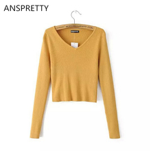 Anspretty Apparel Women spring long sleeve knitted crop top v neck short t shirt four colors high quality female tee