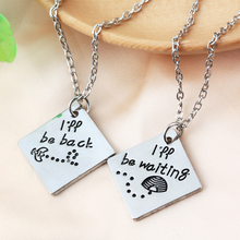 "2pcs New Arrive Long Distance Relationship""i Will Be Back I Will Be Waiting ""necklace Out Of Town Worker(China)"