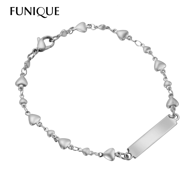 FUNIQUE Heart Shape Bracelet For Women Stainless Steel ID Bracelets Engraving Blanks Tag Bracelet Womens Jewelry(China)