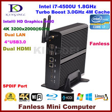 2016 Windows 10 Fanless mini pc intel NUC i7 4500U, 2*Gigabit LAN+2*HDMI+SPDIF+USB 3.0,WIFI,HD 4K,Mini desktop computer