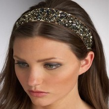 Sequin headband Modern elastic Hair Band rhinestone Sequins Headbands Hairband women crowns(China)