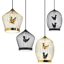 Circular-shape Cage Iron Pendant Lamp Children Lovely Bird Cage Living Room Light Restaurant Light Free Shipping(China)