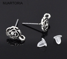 MJARTORIA 40PCs Silver Tone Rose Earring Post Findings w/ Stoppers 13x10mm DIY Accessories For Jewelry Hollow Earrings Post(China)