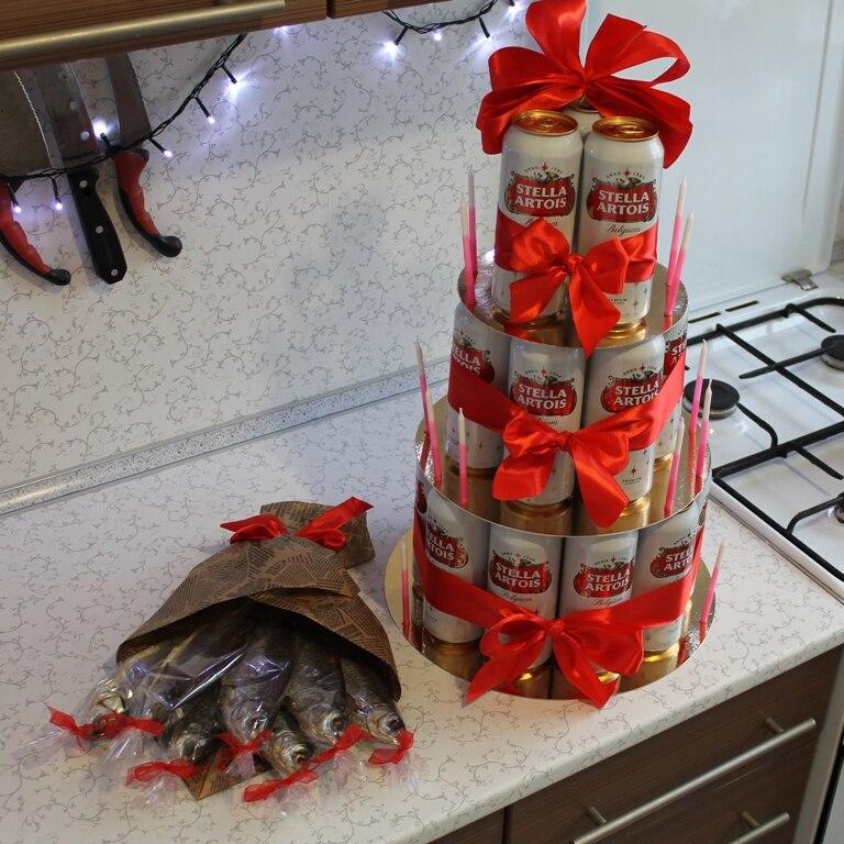Подарок из пива в банках своими 61
