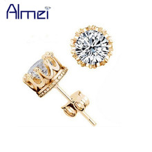 Almei Crown Gold Color Earrings Women Brincos De Prata Men Cubic Zircon Silver White Crystal Brincos Jewerly Stud Earings Y048