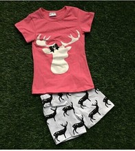 2016 summer clothes girls short outfit pink deer short kids boutique outfit  1-9t available cheap baby kids girls suit