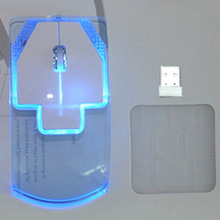 Creative Ultra-thin Transparent 2.4GHz Wireless Optical Luminous Mouse for PC Laptop