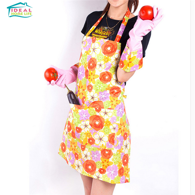 fashion printing waterproof cleaning kitchen cooking aprons girls lady apron - Cooking Aprons