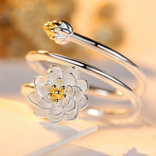 Woman Jewelry Fashion Simple Lotus Ring Personality Female Flower Rings Open Design(China)