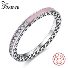 FOREWE Authentic 100% 925 Sterling Silver Purple White Enamel&CZ Crystal Finger Rings for Women Original Wedding Jewelry