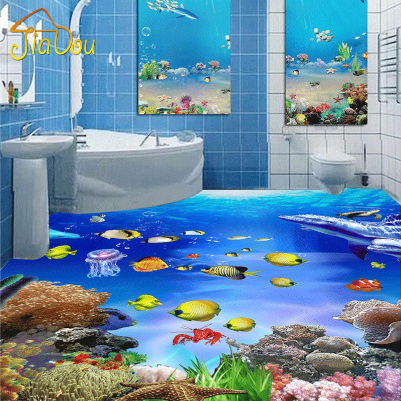 Custom Mural Wallpaper 3D Stereoscopic Floor Stickers SeaWorld Bathroom 3D Mural Wear Non-slip PVC Self-adhesive Floor Wallpaper<br><br>Aliexpress