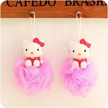 Cute Cartoon Cat Bath Ball/Bath Sponge/Bath Flower Children Head Body Shower wash Cleaning Mesh Flower Lace Ball