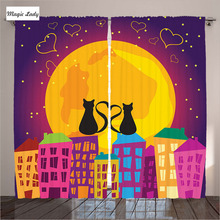 Child Room Animal Curtains Decor Collection Cats Roof Heart Shaped Tales Moon Light Night Town Purpl 2 Panels Set 145*265 sm