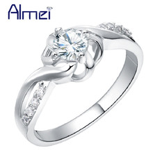 49% off CZ Zircon Engagement Rings Silver Color Jewelry for Women Rainbow Color Crystal Ring Bague Vintage Wedding Anel J249(China)
