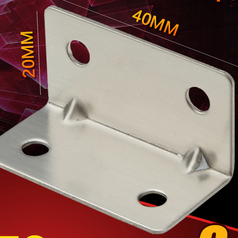1 Pair 40*20mm Thickness 1mm Stainless steel angle yards thickening bracket 4 hole rectangular square angle connector bracket<br><br>Aliexpress