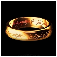 Hobbit Letter Rings Black Stainless Steel the Lord One Rings Titanium Steel 6MM Men Rings(China)