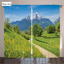 Curtains Heavy Living Room Bedroom Spring Alps Floral Grass Snowy Mountain Rural Village Green BlueMagic Lady(Russian Federation)
