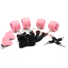 PU and velvet bondage restraint cuffs,multifunctional under the bed restraints kit ,adult sex restraint underbed restrsint kit