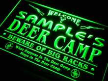 tu-tm Name Personalized Custom Deer Camp Big Racks Bar Beer Neon Sign with On/Off Switch 7 colors