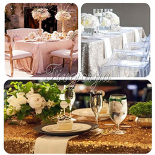 "5Pcs Large Sequins Tablecloths Table Covers for Wedding Party Decor 40x60"" Top Quality Table Cloth Gold / Silver /Champagne"