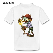 Plants Vs Zombies Children T Shirt Pure Cotton Short Sleeve Crew Neck Tshirt Garment Boys Girls 2017 Design T-shirt For Baby
