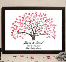 Personalize Fingerprint1pcs Wedding Tree Wedding Guest Book Tree Unique Signature Guestbook Alternative and 6 ink pads for free(China)