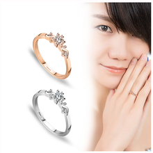 Trendy Eight Heart Eight Arrows crystal Ring Champagne Gold Color Fashion Wedding ring women Jewelry