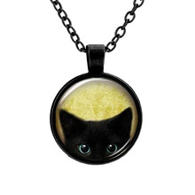 2017 Unique Necklace Glass Cabochon Silver Bronze Tradition Black Cat Picture Vintage Pendant Necklace For Women
