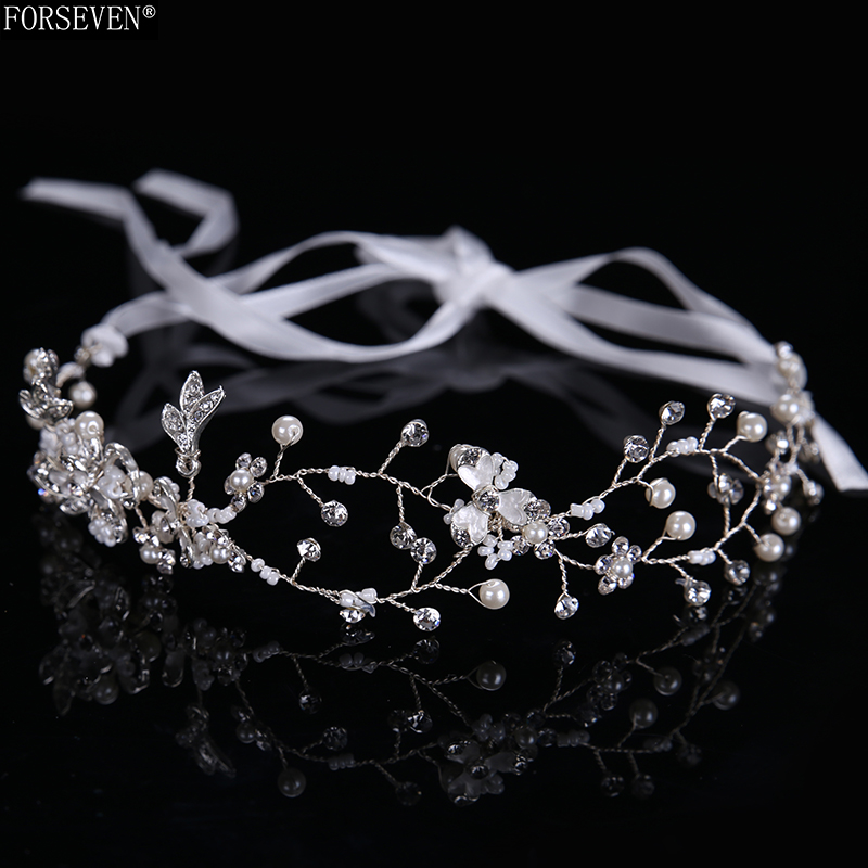 Beautiful Silver Alloy Flower Crystal Headband Women Handmade Bride Headdress Rhinestones Wedding Bride Hair Accessories