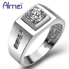 Almei 30% USA Vintage Jewelry Men's Big Ring Silver Color Bijouterie Male Wedding Rings For Men Anel Masculino Jewellery J473