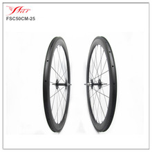 700C full carbon track wheels 50mm 25mm carbon fixed gear wheels clincher with Novatec track hub for single speed track bike(China)