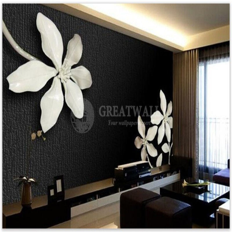 Custom wall paintings of any size 3D wall mural 3D black and white magnolia flower Photo relief mural papel de parede <br><br>Aliexpress