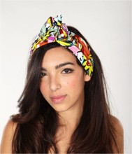 women vintage 50s popart icecream patchwork black headband rockabilly pinup style bandans hair scarf wire wrap accessories