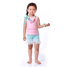 Child Clothing Outfit Summer Kids Fashion New Born Baby Clothes Light Pink Tank Top+Stripe Shorts Baby Girls Boutique Outfits(China)