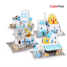 Cubic Fun DIY House 3D Puzzle Greece Feature Paperboard Model, Assembly Puzzle 3D World Style Toys For Children, Christmas Gifts(China)