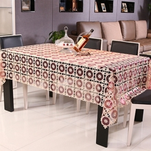New Hot Pierced transparent glass yarn embroidery table cloth elegant design soluble lace tableclothsTextile Decoration