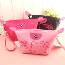 Kawaii Cute Cartoon Cat Cosmetic Bag Zipper Makeup Case Travelling Wash Bag Portable Toiletry Bags Coin Purse Storage Bag